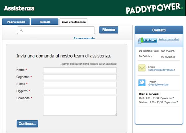 Servizio clienti Paddy Power - Email, Telefono, Chat