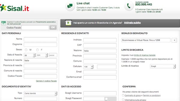 Registrazione sul bookmaker Sisal - come mi registro?