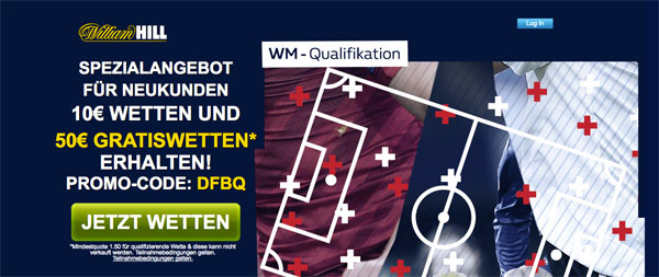 William Hill Gratiswetten WM Qualifikation