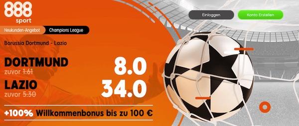 888sport Quotenboost Dortmund Lazio
