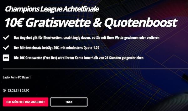 Novibet Gratiswette zu Lazio Rom Bayern München