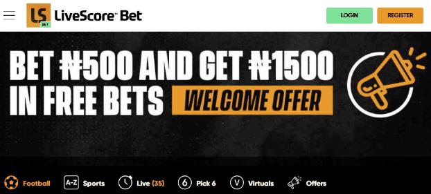Livescorebet Nigeria Welcome Bonus