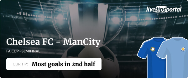 Betting tip for the FA Cup semifinal Chelsea vs Manchester City