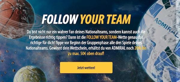 Sicher dir mit der Follow your team Promo von admiralbet einen 50 Euro Bonus