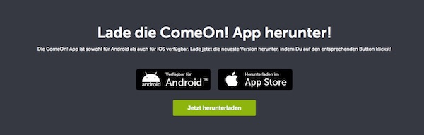 ComeOn App Download Banner