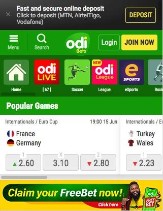 Odibets Ghana mobile homepage