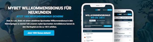 100 Euro Mybet Bonus für Neukunden