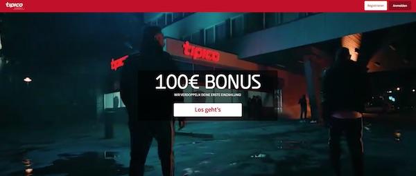 Tipico 100 Prozent bis zu 100 Euro Einzahlungsbonus