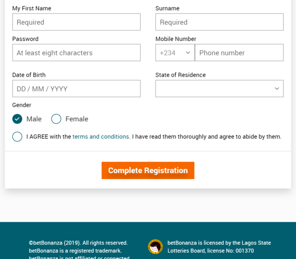 Betbonanza Registration form