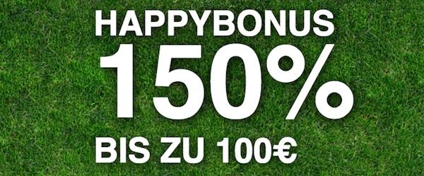 Happybet Bonus 150 Prozent bis zu 100 Euro